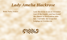 Lady Amelia Blackrose biography