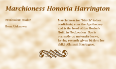 Marchioness Honoria Harrington biography